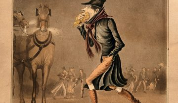 A man covering his mouth with a handkerchief, walking through a smoggy London street. Coloured aquatint. Credit: Wellcome Collection. CC BY