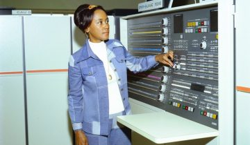 Annie Easley, NASA, at a computer